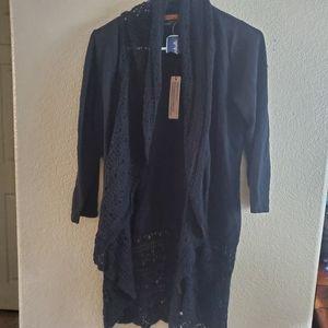 Belldini Black Crochet Open Front tie Cardigan